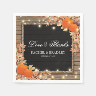 Rustic Country Autumn Fall Lights Wedding Disposable Napkin