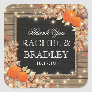 Rustic Country Autumn Fall Wedding Favor Square Sticker