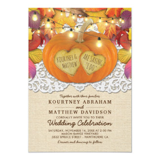 Rustic Country Autumn Pumpkin Lace Wedding Card