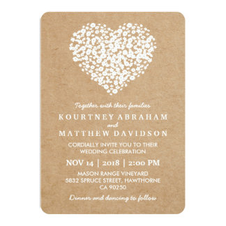 RUSTIC COUNTRY BABY BREATH FLOWERS WEDDING CARD