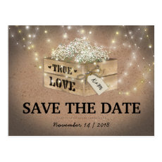 Rustic Country Baby's Breath Lights Save the Date