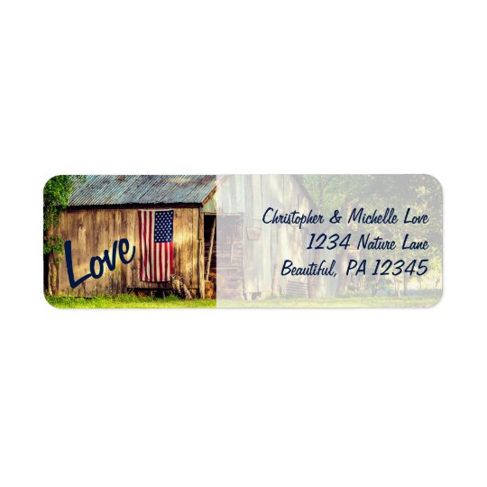 Rustic Country Barn American Flag Love Address