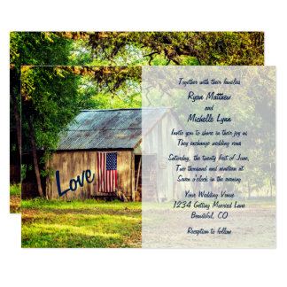 Rustic Country Barn American Flag Wedding Invite
