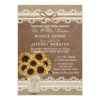 Rustic Country Barn Wedding Sunflower Mason Card