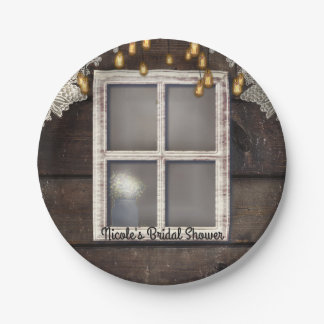 Rustic Country Barn Window Lights Lace Wedding Paper Plate