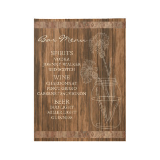Rustic Country Barn Wood Bar Menu Wood Poster