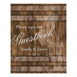 Rustic Country Barn Wood Guestbook Poster