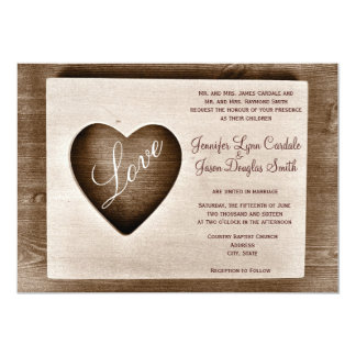 "Rustic Country Barn Wood Love Heart Wedding Invite 5"" X 7"" Invitation Card"