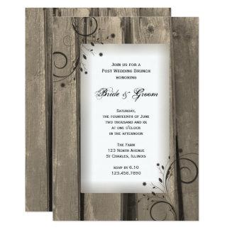 Rustic Country Barn Wood Post Wedding Brunch 13 Cm X 18 Cm Invitation Card