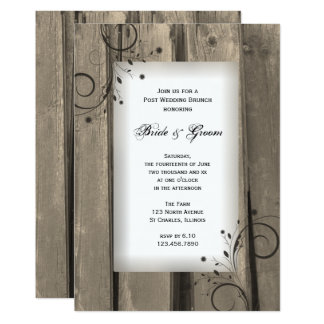 Rustic Country Barn Wood Post Wedding Brunch Card