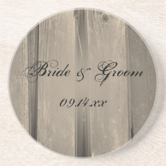 Rustic Country Barn Wood Wedding Beverage Coasters