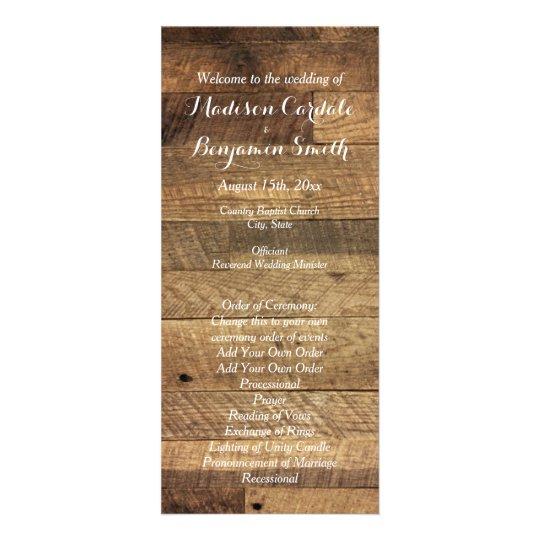 Rustic Country Barn Wood Wedding Program Template Rack