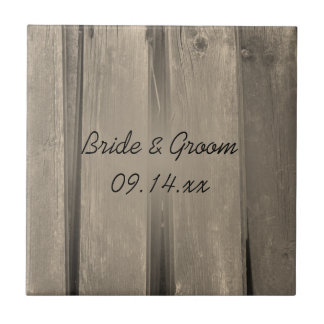 Rustic Country Barn Wood Wedding Tile