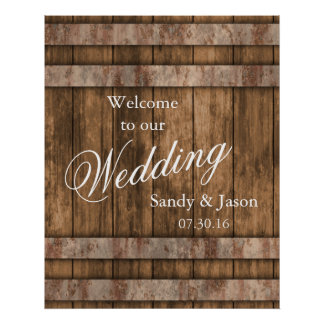 Rustic Country Barn Wood Wedding Welcome Poster