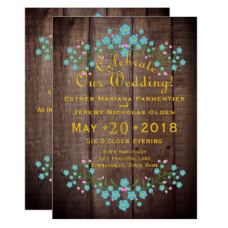 Rustic Country Barnwood & Floral Forget Me Nots Card