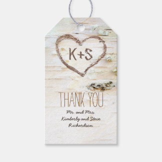 Rustic Country Birch Bark Heart Wedding Gift Tags