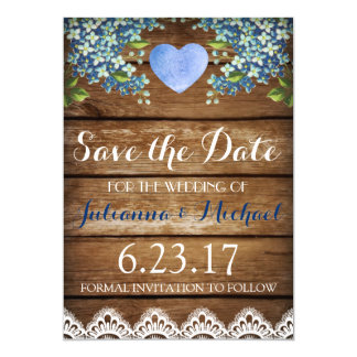 Rustic Country Blue Hydrangea & Lace Save the Date Card