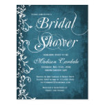 Rustic Country Blue Swirls Bridal Shower Postcards