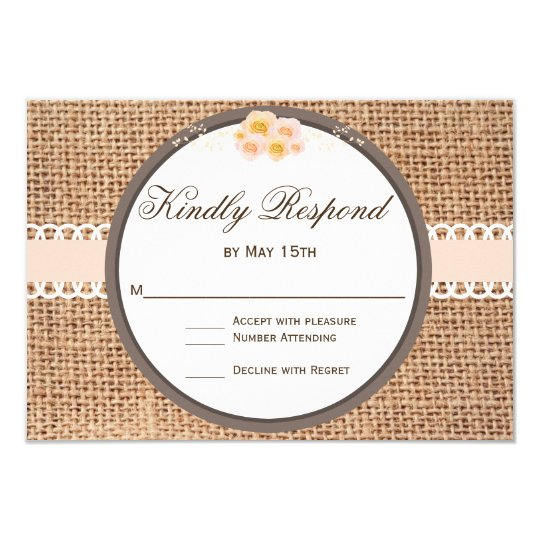 Rustic Country Blush Burlap Wedding RSVP Cards
