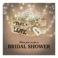 Rustic Country Bridal Shower Babys Breath Lights Invite