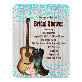 """Rustic Country Bridal Shower 4.25"""" X 5.5"""" Invitation Card"""
