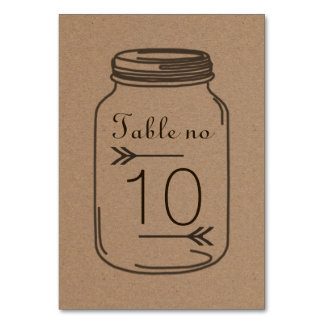 Rustic Country Brown Masonjar Table Number Card Table Cards