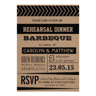 Rustic | Country Brown Rehearsal Dinner Barbeque Cards