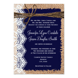 Rustic Country Burlap Lace Twine Wedding Invites