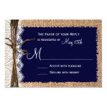 Rustic Country Burlap Lace Twine Wedding RSVP Personalised Invitations
