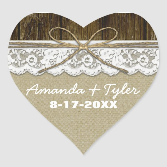 Rustic Country Burlap Lace Wedding Favour Stickers