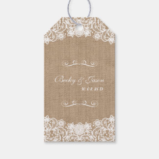 Rustic Country Burlap Lace Wedding Gift Tags