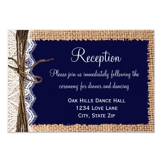 Rustic Country Burlap Lace Wedding Reception Cards