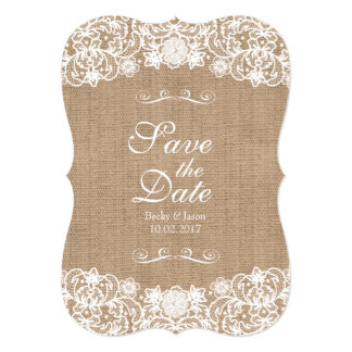 Rustic Country Burlap Lace Wedding Save-The-Date 13 Cm X 18 Cm Invitation Card