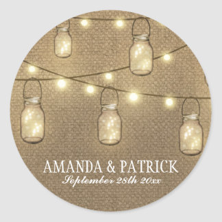 Rustic Country Burlap Mason Jar Wedding Favors Classic Round Sticker