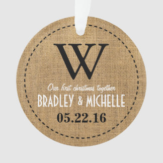 Rustic Country Burlap Monogram Ornament