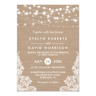 Rustic Country Burlap String Lights Lace Wedding 13 Cm X 18 Cm Invitation Card