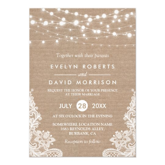 Rustic Country Burlap String Lights Lace Wedding Card | Zazzle.co.uk