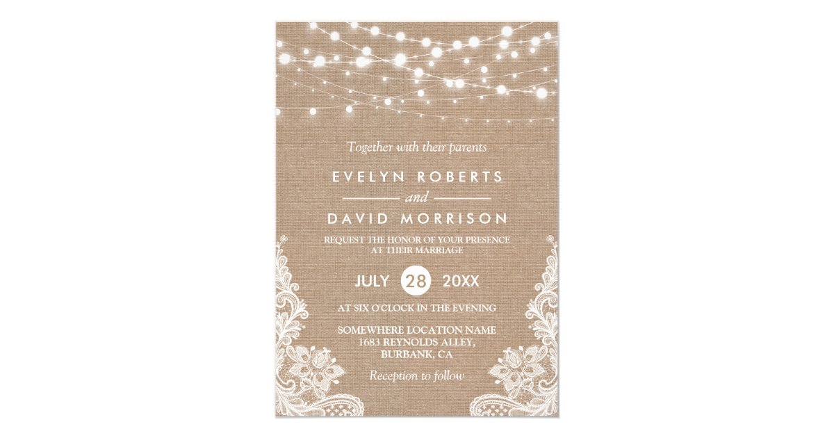 Wedding invitations announcements zazzle uk rustic country burlap string lights lace wedding card stopboris Images