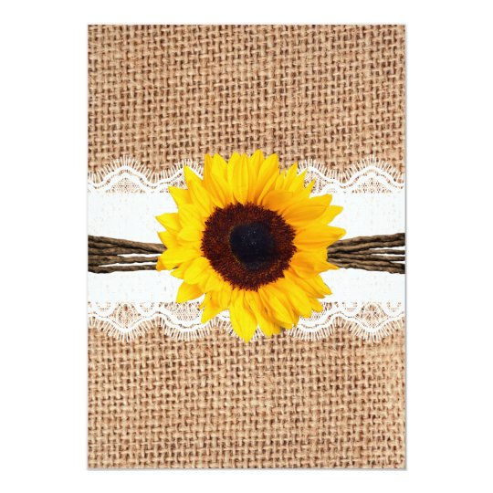 Rustic Country Burlap Sunflower Lace Wedding Card