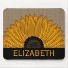 .Rustic Country Burlap Sunflower Wedding Favours Mouse Mat