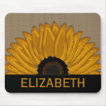 .Rustic Country Burlap Sunflower Wedding Favours Mouse Pad