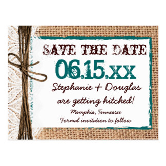 Rustic Country Burlap Teal Save the Date Postcards