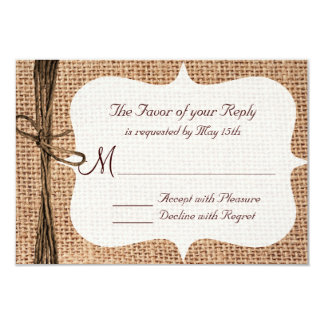Rustic Country Burlap Twine Wedding RSVP Cards 9 Cm X 13 Cm Invitation Card