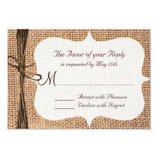 Rustic Country Burlap Twine Wedding RSVP Cards 9 Cm X 13 Cm Invitation Card