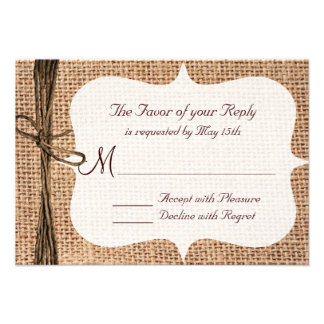Rustic Country Burlap Twine Wedding RSVP Cards