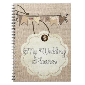 Rustic Country Burlap Wedding Planner Notebook