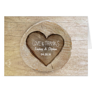 Rustic Country Carved Heart Tree Wedding Note Card