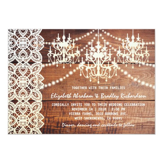 RUSTIC COUNTRY CHANDELIER WEDDING | BARN LACE CARD