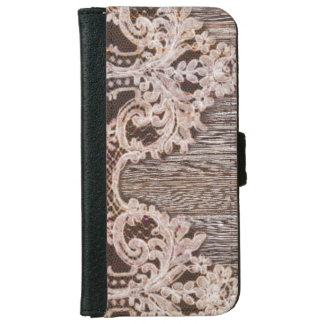 Rustic Country Chic Bohemian Wood and Lace iPhone 6 Wallet Case