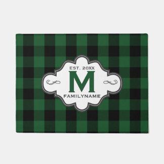 Rustic Country Chic Green Buffalo Plaid Monogram Doormat